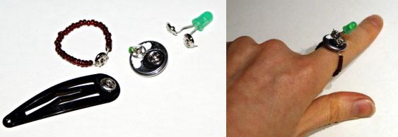 Glitzerschmuck in Teilen und als Ring
